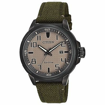 Citizen Eco Drive Mens Aw1465 14H Ar Beige Dial Green Nylon Strap 43Mm Watch