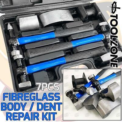 Body Repair Kit Dent Panel Beating 70% Fibre Glass Hammer Dolly Tool Set 7 Piece