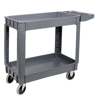 Plastic Utility Service Cart 550 Lb Capacity 2 Shelf Rolling Shop Garden Tool