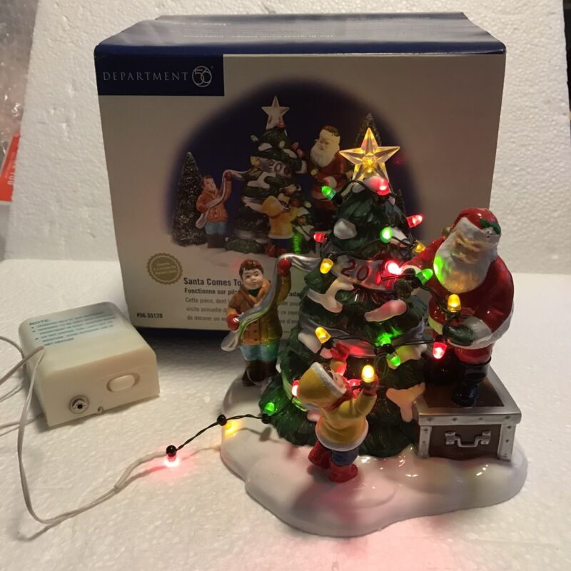 Vintage Dept 56 Santa Comes to Town 2001 Snow Village w/ Battery Operated Lights