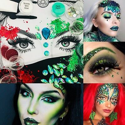 "Halloween Set ""Poison Ivy"" Complete Glitter Makeup Kit Face Paint Glue Gems Etc! ()"