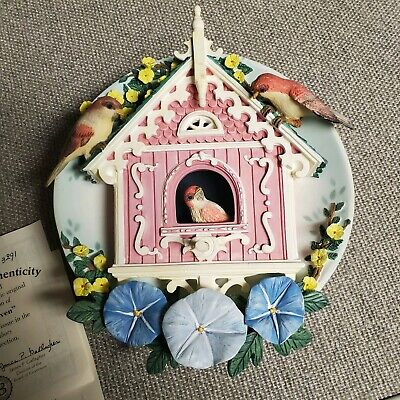 Bradford-Exchange Our Cozy Haven  Birdhouse-3D-Wall-Plate-Nesting Neighbors