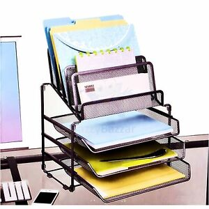 8 Mesh Metal Document File A4 Paper Slide Tray Office Desk Cubicle Organiser NEW