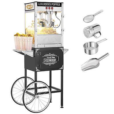 Zokop Vintage Commercial 850w Popcorn Maker Machine Cart Corn Popper Black