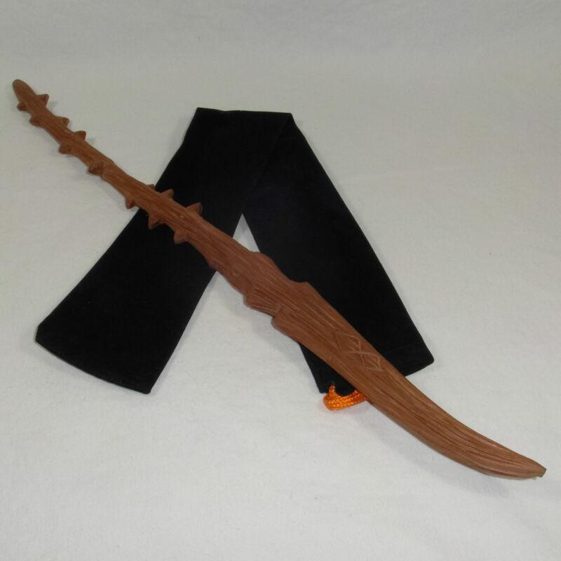 "16"" Hand Carved Mahogany Wood DE Thorn Magic Wand Wizard Cosplay w/ Velvet Bag"