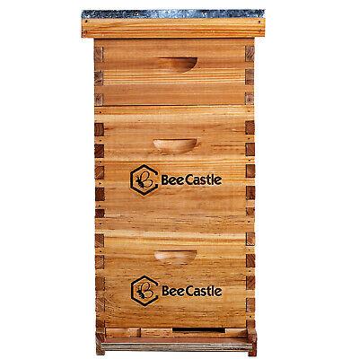 Natural Bees Wax Coated Langstroth Hive Kit 8 Frame 2 Deep Boxes 1 Medium Box