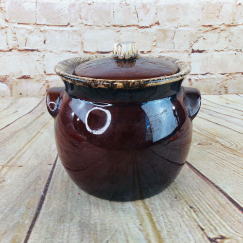 Vtg Hull Bean pot Oven Proof Cooking Dish /w Lid USA Brown Farmhouse decor