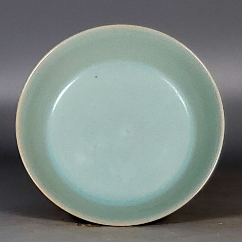 "5.4"" Antique Porcelain Song dynasty ru kiln sky cyan glaze circular Brush Washer"