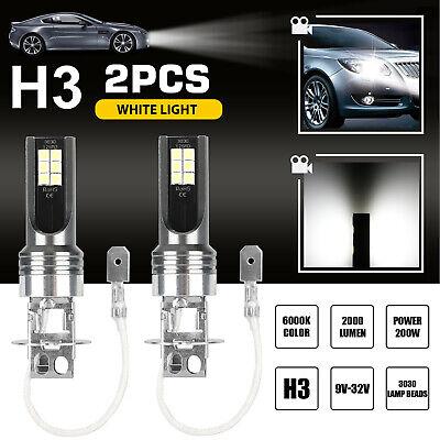 2PCS H3 200W LED Fog Light Bulbs Car Driving Lamp DRL 6000K White Super Bright
