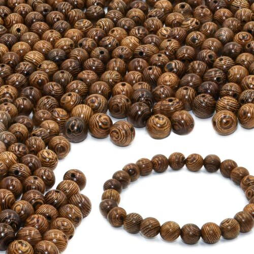 300 PCS Wood Beads for Jewelry Making Supplies, 8mm Dark Brown Wooden Beads
