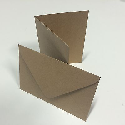 50 x Luxury Vintage A6 C6 Recycled Brown Fleck Wedding Card Blanks & Envelopes