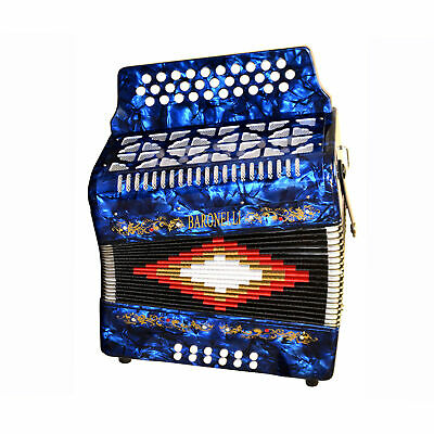 Baronelli 31 Button, 12 Bass Accordion, FBE, With Straps And Case, Blue