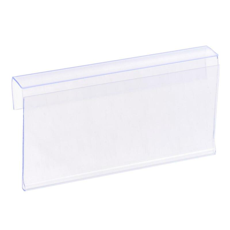 Label Holder L Shape 80x40mm Clear Plastic for Wire Shelf, Pack of 30