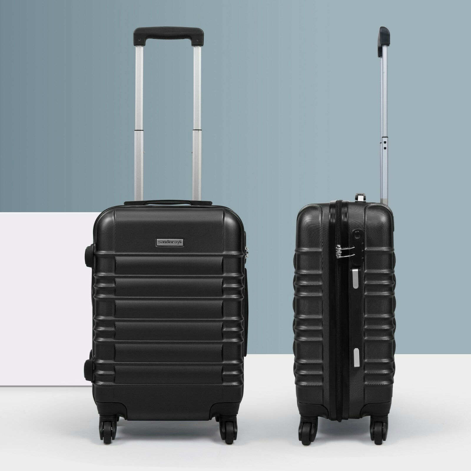 """20"""" ABS Carry On Luggage Hardside Nested Spinner Trolley Travel Suitcase Black"""
