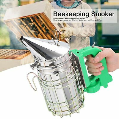 Electric Bee Hive Smoker Stainless Steel Wheat Shield Beekeeping Equipment Usb