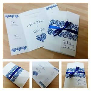 Personalised royal navy blue gatefold hearts heart for Ebay navy wedding invitations