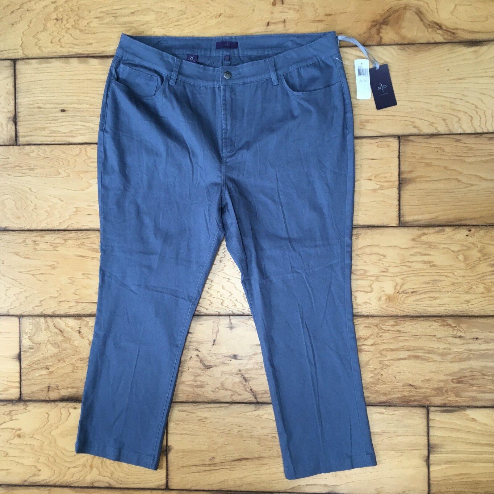 NYDJ Women Grey Blue Ankle Pants Original Slimming Fit Cornf