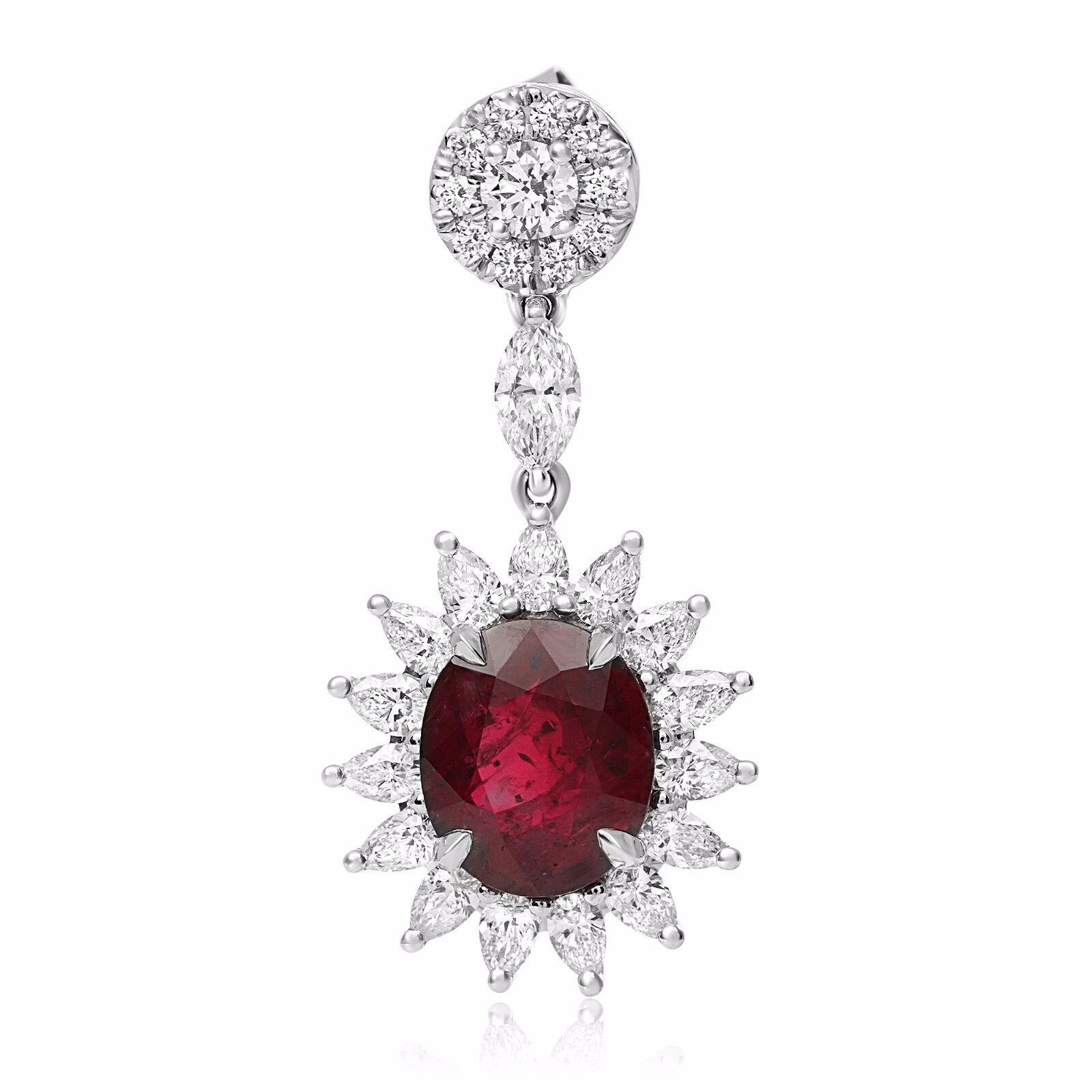 Natural GIA Certified 18K Gold Ruby Earrings with Diamonds 6.72 Carats Rubies 2