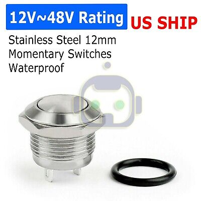 12mm Metal Boat Horn Momentary Push Button Stainless Steel Starter Switch