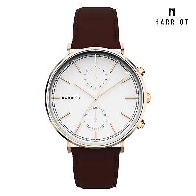 Harriot Seongsan Rosegold Men Modern Watch Leather Business Classic Hand Crafted