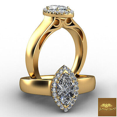 Halo Filigree Marquise Cut Diamond Engagement French Pave Ring GIA F VVS2 0.70Ct
