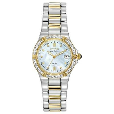 Citizen Eco-Drive Women's Riva Diamond Accents Two-Tone 26mm Watch EW0894-57D