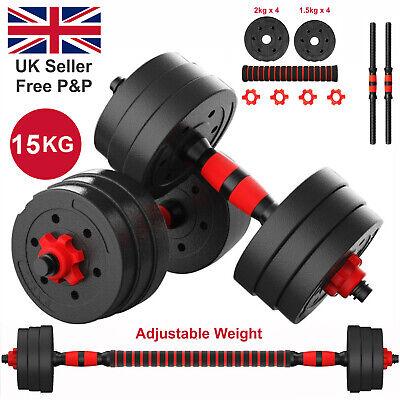 15kg Dumbbells Set Pair Gym Free Weight Barbell Dumbell Body Building Adjustable