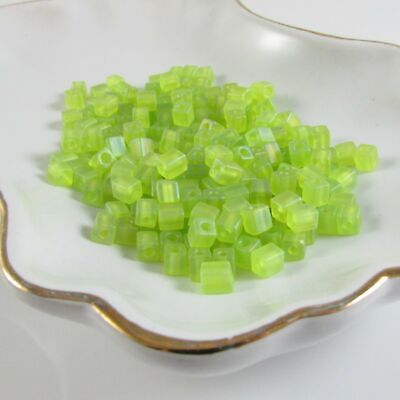 4mm transparent frosted rainbow lime green square beads, Miyuki # SB143FR, 20 gr Miyuki Lime Green Transparent Beads