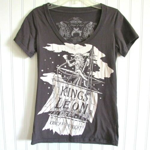 Kings of Leon Barking Irons T-Shirt Size S Only By The Night Graphic Tee V-Neck
