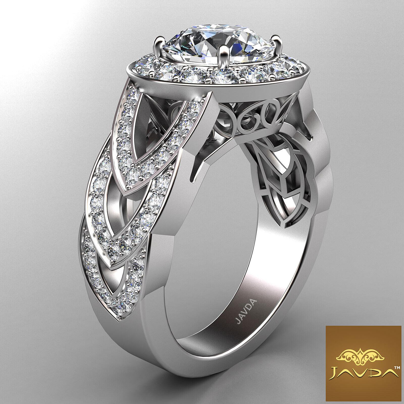 2.25ct Round Diamond Engagement Designer Halo Set Ring GIA F VVS2 14k White Gold 2
