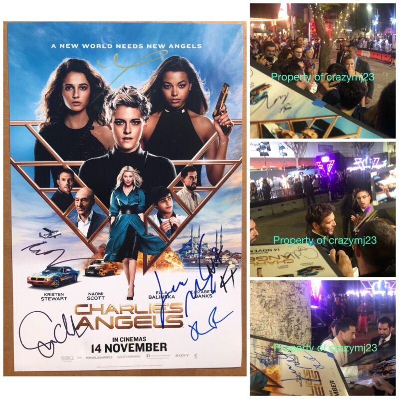 6 Cast Signed Charlie's Angels Poster Sam Claflin Elizabeth Banks Autograph 2019