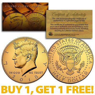 24K GOLD PLATED 2018-P JFK Kennedy Half Dollar Coin (P Mint) BUY 1 GET 1 FREE