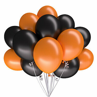 Premium Luftballons Halloween orange schwarz Dekoration Party Fasching Feier Bio