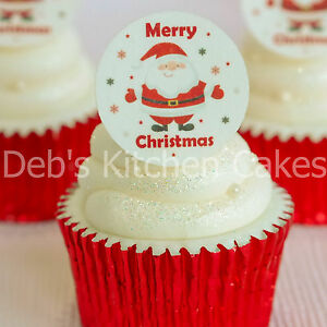 Christmas-Cupcake-Toppers-Santa-Cake-Decorations-Icing-or-Wafer-4cm-x-24