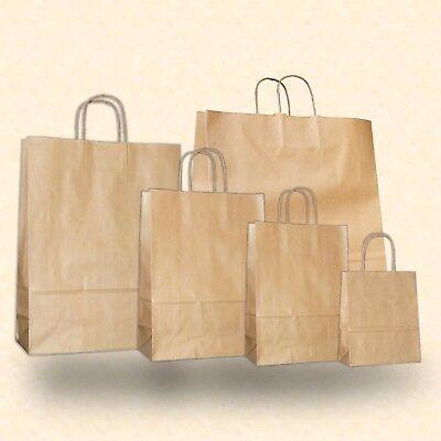 Großen Tragetaschen (150-300 Papiertragetaschen 5 Größen gerippt Kordel braun Papiertüte Einkaufstüte)