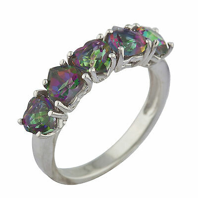5 Hearts Genuine Mystic Topaz Heart Ring .925 Sterling Silver (Mystic Topaz Heart)