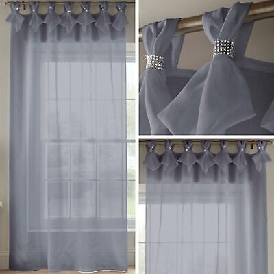 Grey Voile Curtain Diamante Sparkle Tab Top Pleated Panels Bling Sheer Voiles