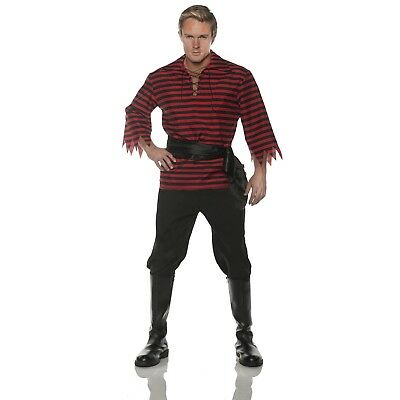 Adult Men's Caribbean Pirate Red Black Striped Shirt Pants Halloween Costume ](Halloween Costumes Red Pants)