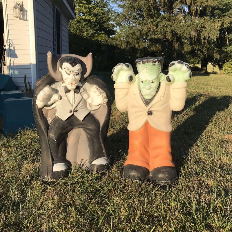 Vintage Halloween Blow Mold Lawn Decorations. Dracula & Frankenstein.