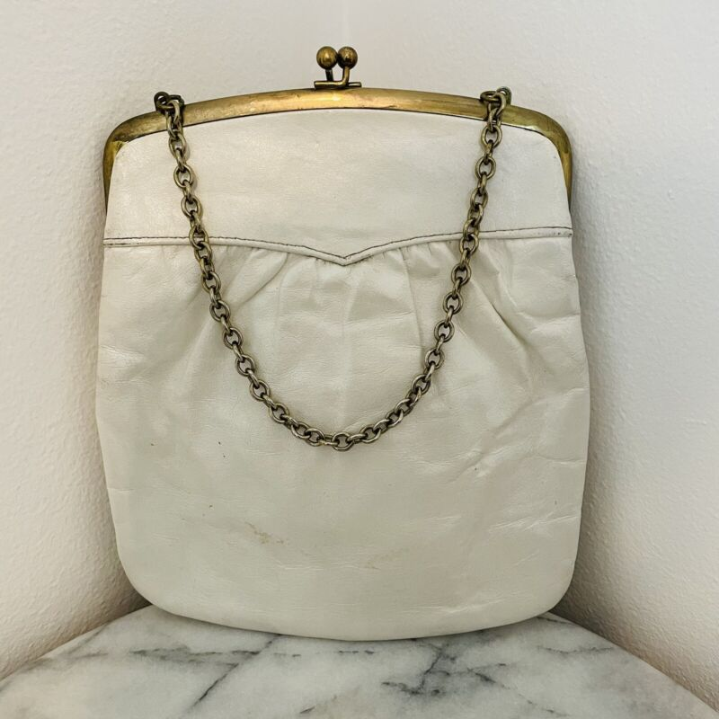 Vintage St. Thomas Purse Leather White Snap Brass Wrist Chain Hand Bag