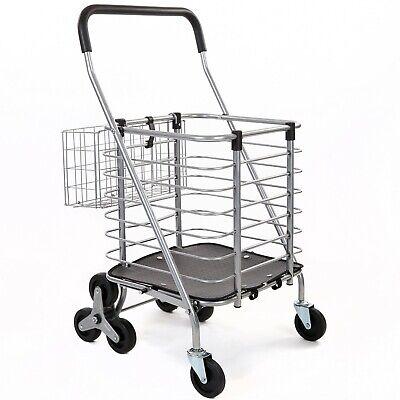 Seville Classics Folding Rolling Steel Wire Basket Trolley Grocery Shopping Cart