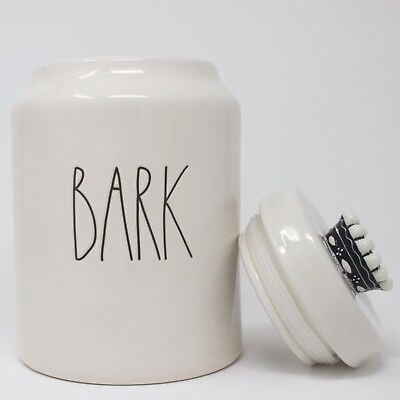 Rae Dunn Dog Treat Jar, Bark (new, crown, ceramic, white)