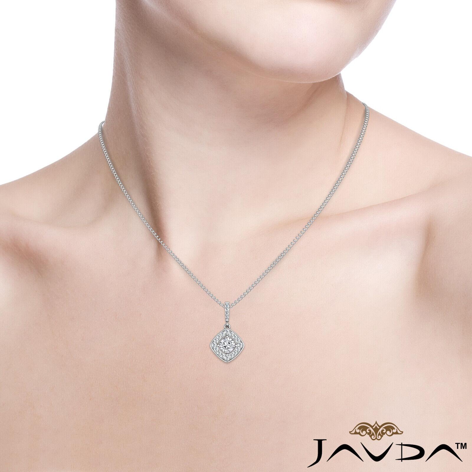 100% Natural Cushion Diamond Halo Micro Pave Setting Pendant Necklace 0.64ctw 8