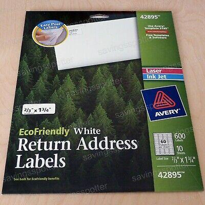 600 Avery White Return Address Labels 23 X 1-34 Laserinkjet Ecofriendly Green
