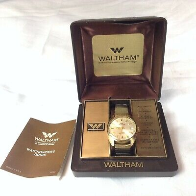 Waltham Swiss Made Automatic Watch Date 17 Jewel In Original Box Runs CS004 905