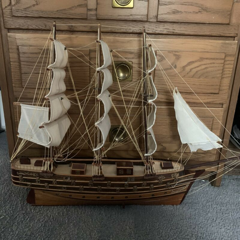 Napoleon Large Vintage Antique wooden model ship with sails Collectible