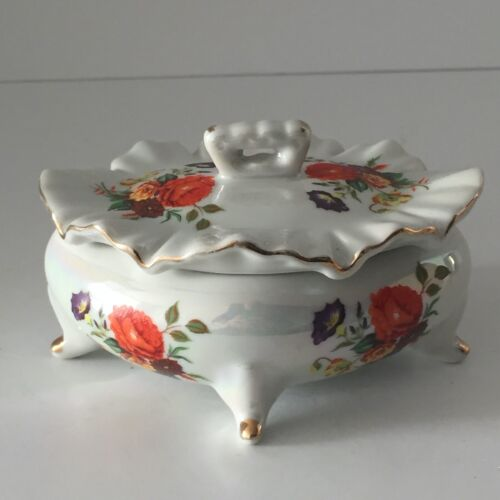 Trinket Box Porcelain Lustreware Flowers Floral Footed Lid Iridescent Orange EUC
