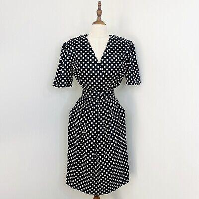 80s Dresses   Casual to Party Dresses Vintage Retro Dolina Sydney Dress Black White Polka Dot Rockabilly Size 12 - 14 $36.65 AT vintagedancer.com