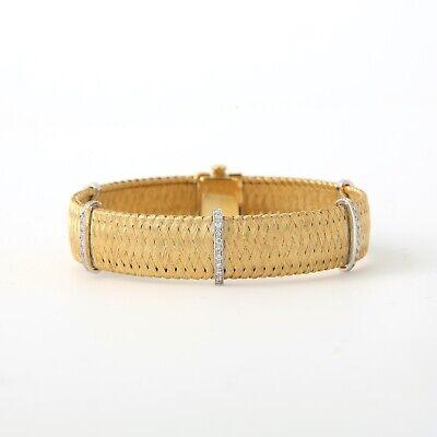 Ladies 18K Gold Woven Mesh Bracelet with Diamonds 33 Diamonds Gold Diamond Mesh Bracelet