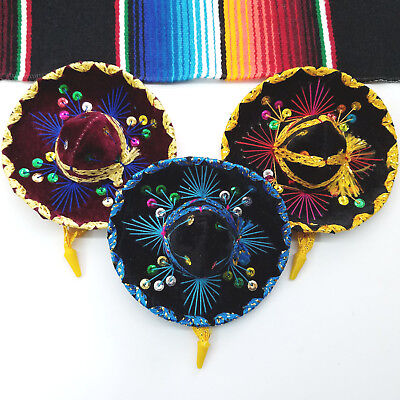 Set Of 3 Mexican Mini Mariachi Hats, Party Decoration, Favors, Charro. - Mini Sombrero Party Hats